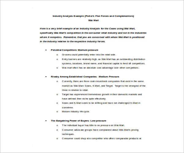 Download Industry Analysis Template Doc