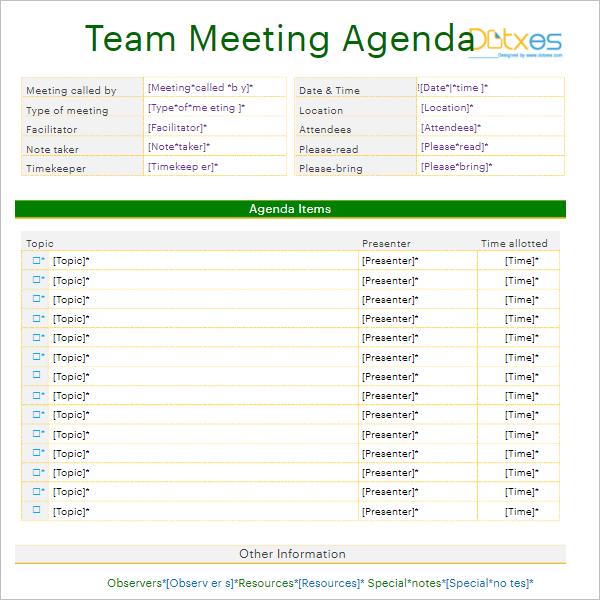 Download Informal Meeting Agenda Template