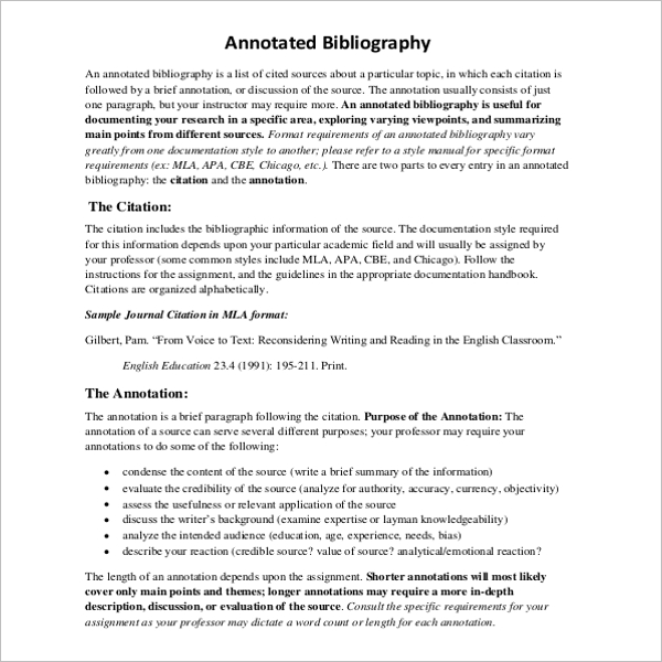 11 mla annotated bibliography templates free pdf examples