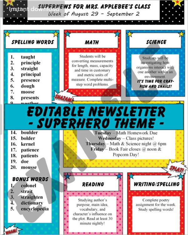 Editable Teacher Newsletter Template
