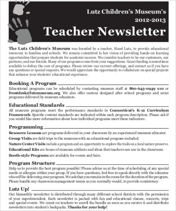 Elementary Teacher Newsletter Template