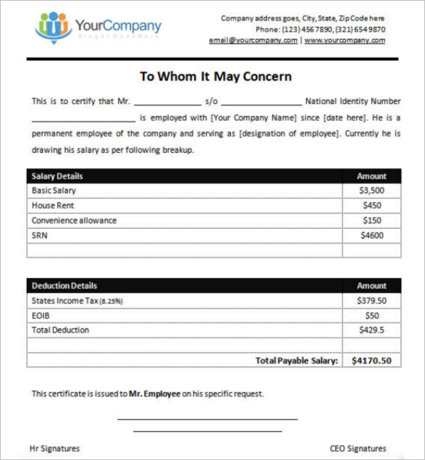 Employee Salary Certificate Design