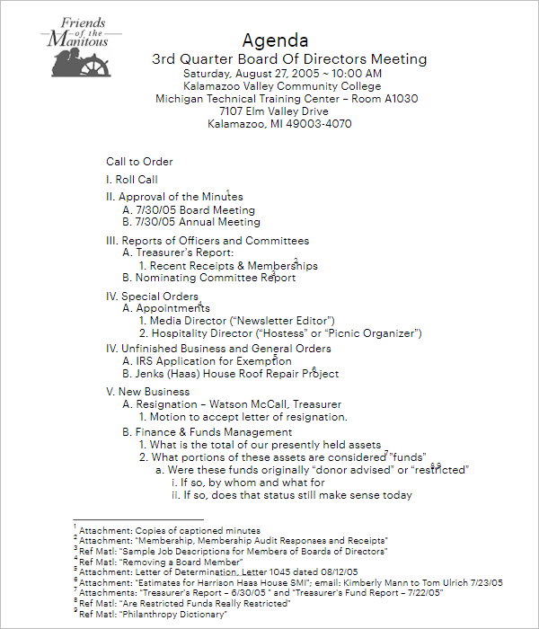 Example For Annual Meeting Agenda