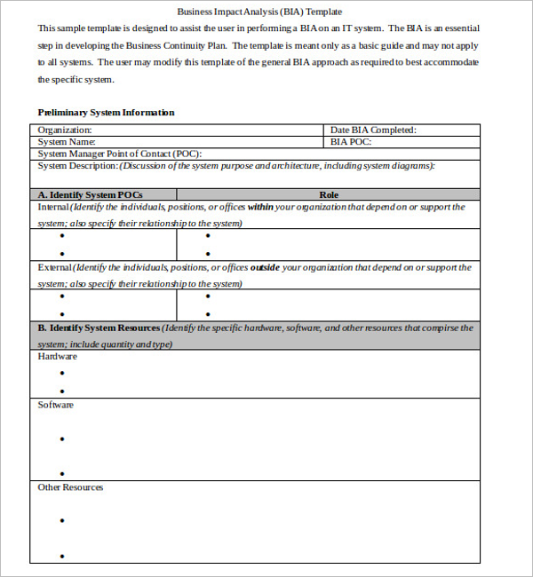 Example For Business Impact Analysis Template