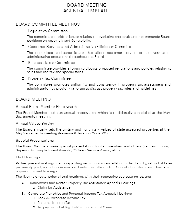 Free Annual Meeting Agenda Template
