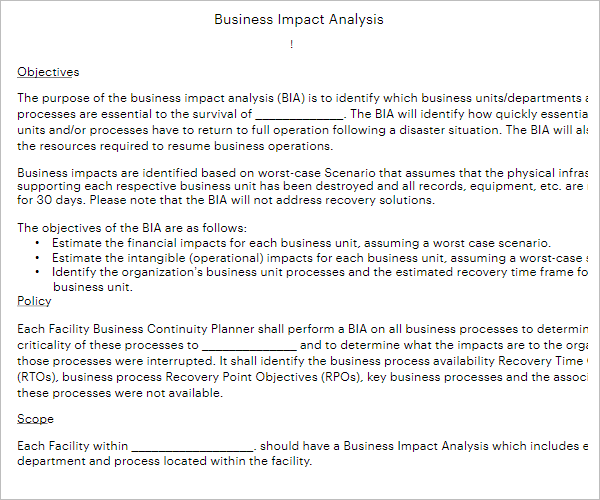 Free Business Impact Analysis Template