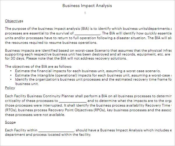 Free Business Impact Analysis Template