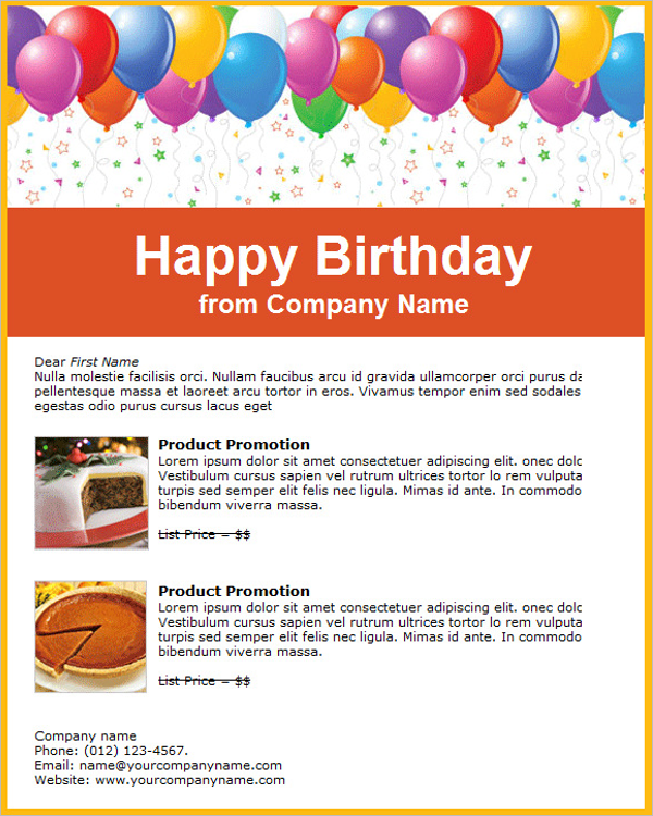 Free Company Birthday Email Template