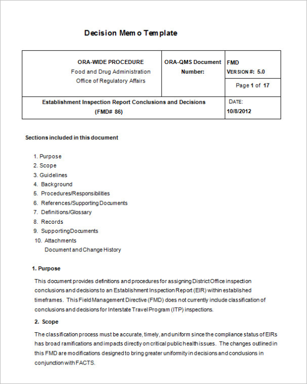 Free Decision Memo Document Template