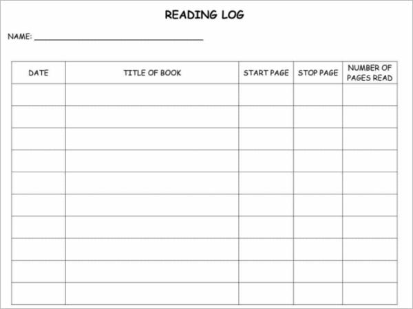 Free Download Daily Reading Log Template