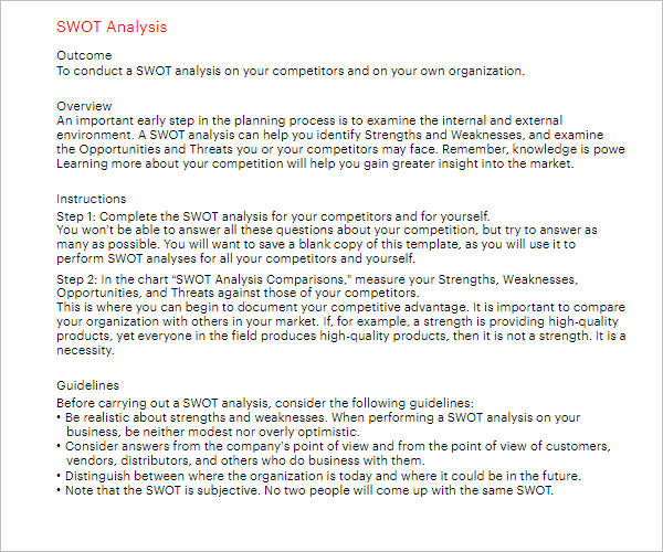 Free SWOT Analysis Template Word