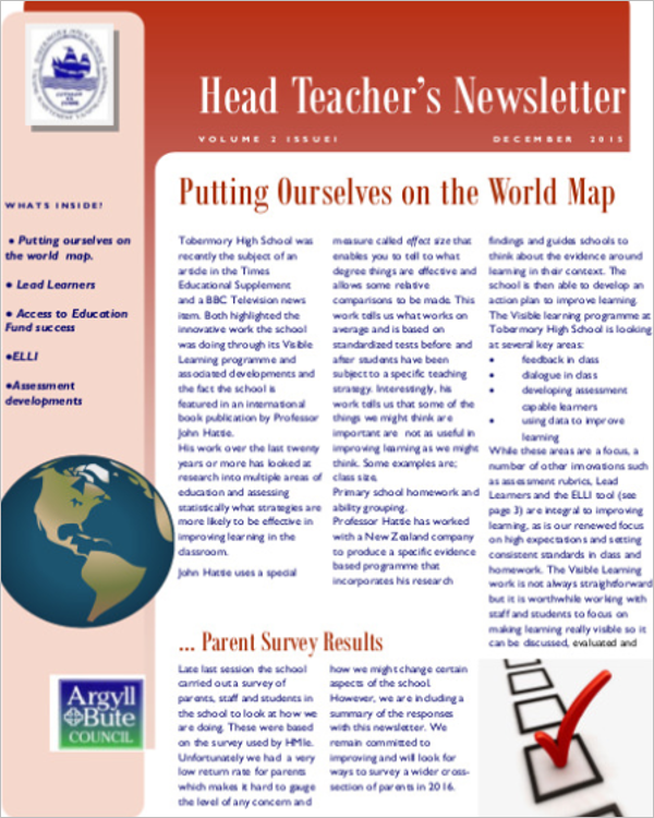 Head Teacher Newsletter Template