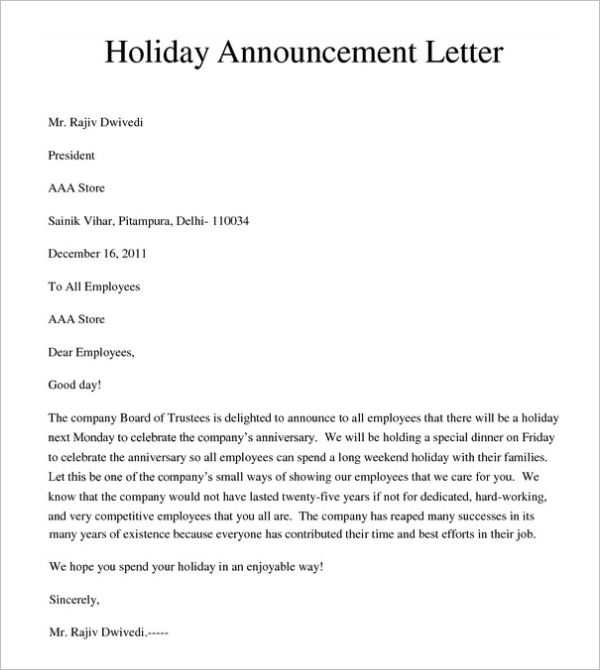 Holiday Memo Template Free Download