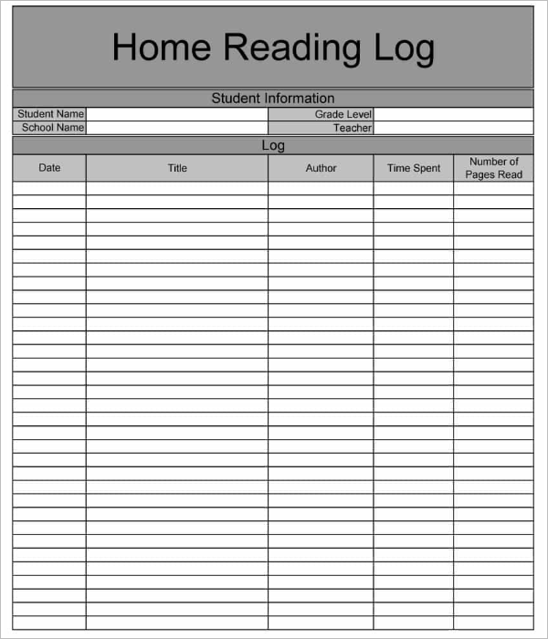 Home Reading Log Free Download