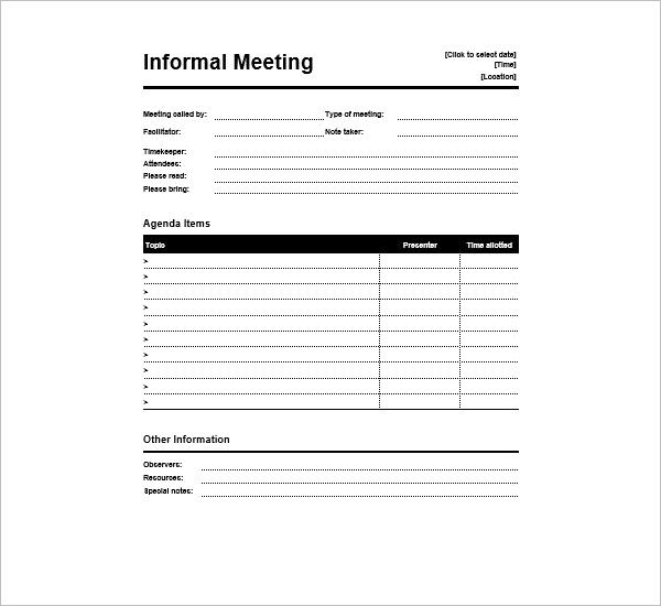 Informal Meeting Agenda Template Free Download