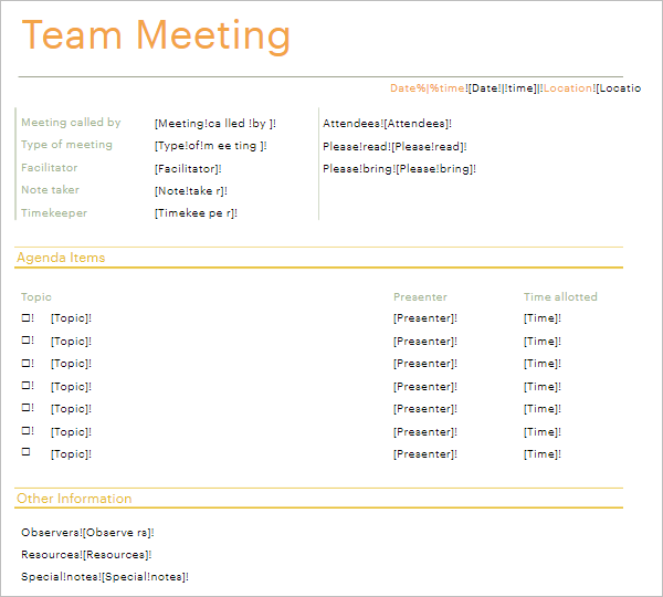 Informal Team Meeting Agenda PDF Format
