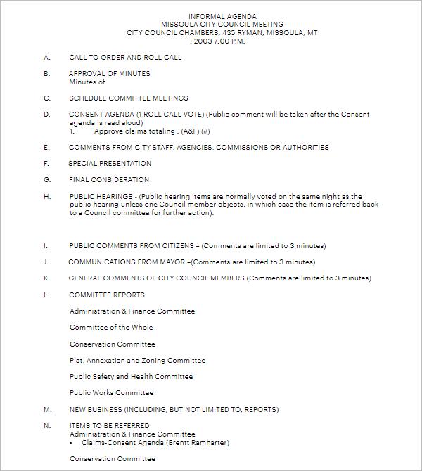informal meeting agenda sample