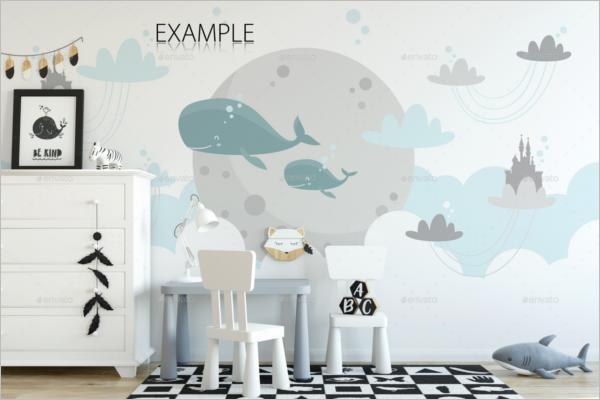 Kids Wall Mockup Design