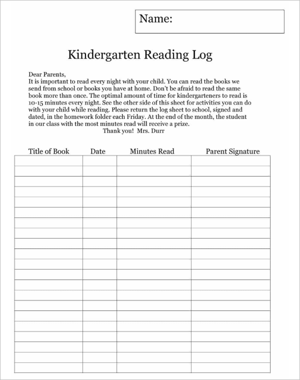 Kindergarten Reading Log Template