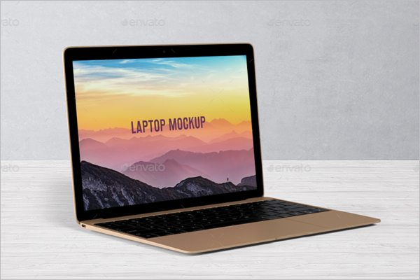 Laptop Gold Case Mockup Design