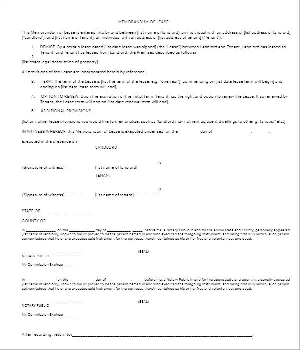 Lease Memorandum Template