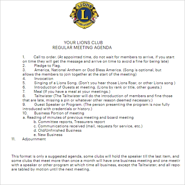Lions Club Meeting Agenda Word
