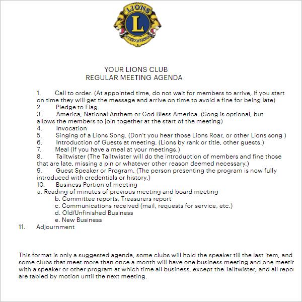 Lions Club Meeting Agenda Word