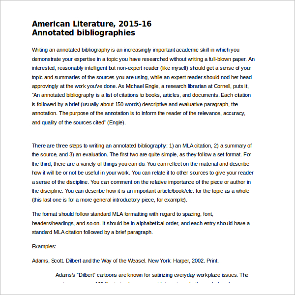 MLA Annotated Bibliography Doc Download
