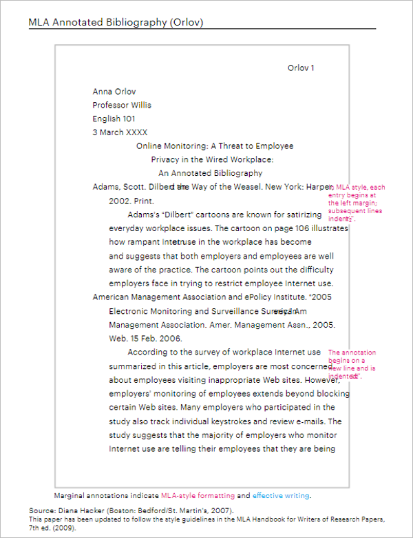 Annotated bibliography example mla 7th