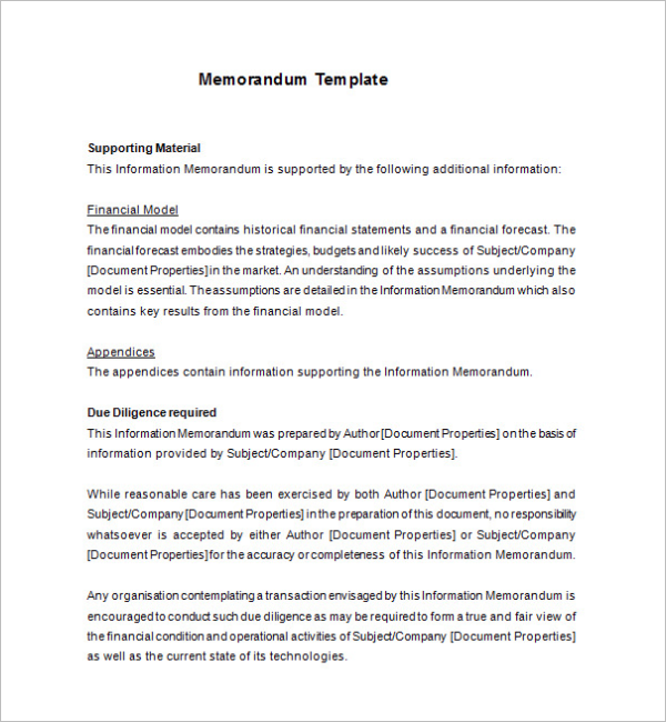 Memorandum Template Example