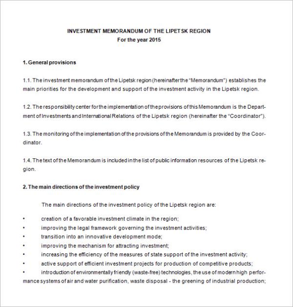 Memorandum Template for Investment