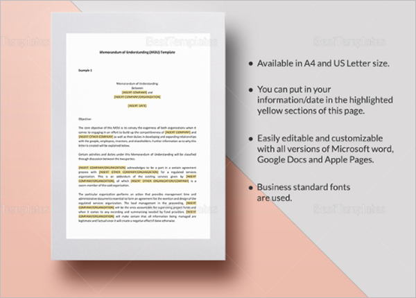 Memorandum of Agreement Template in iPages