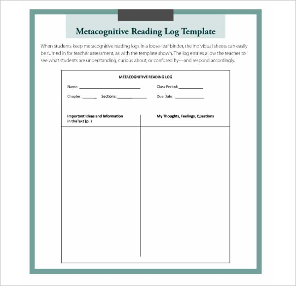 Metacognitive Reading Log Template