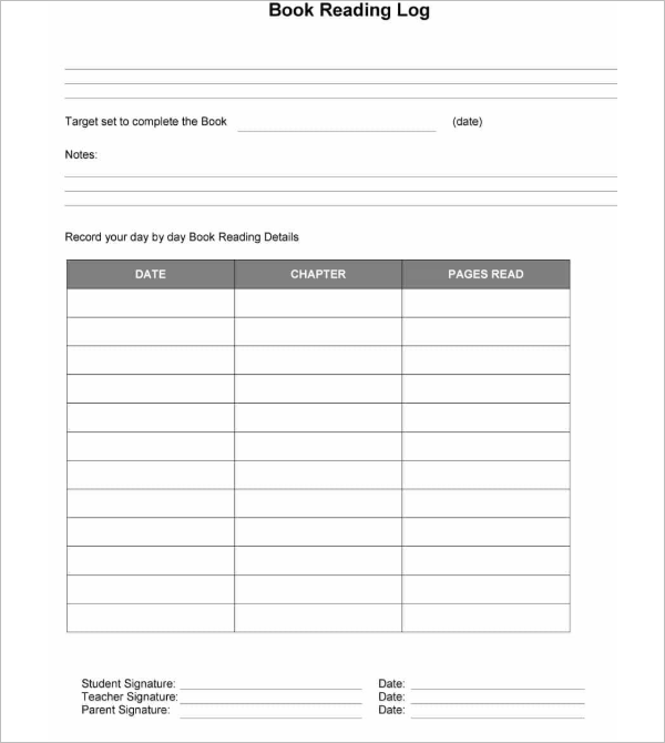 Microsoft Word Reading Log  Template