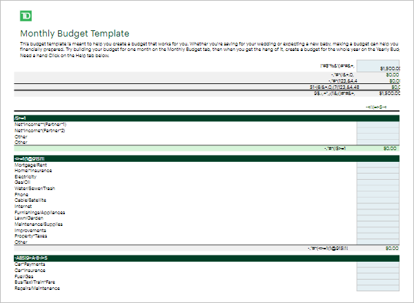 Monthly Budget Analysis Template