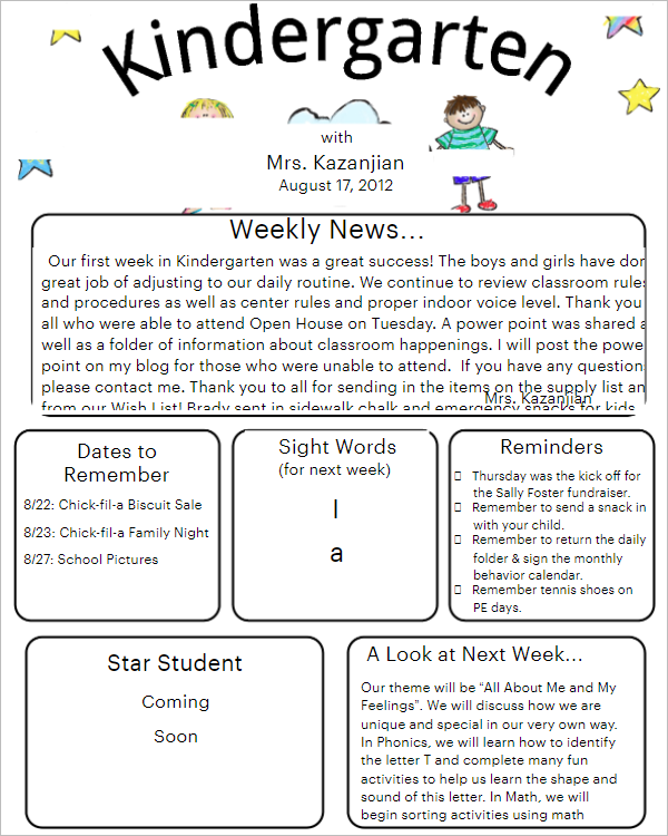 19 preschool newsletter templates free word samples preschool newsletter template example spiritdancerdesigns Images