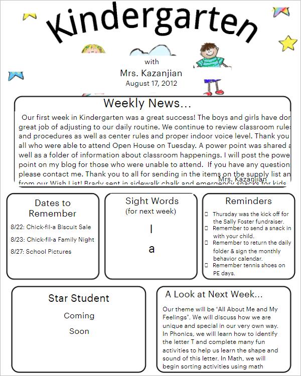 19 preschool newsletter templates free word samples preschool newsletter template example spiritdancerdesigns Gallery