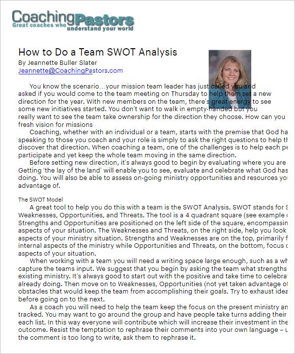 PDF SWOT Analysis Template