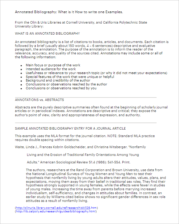 Printable Annotated Bibliography Template