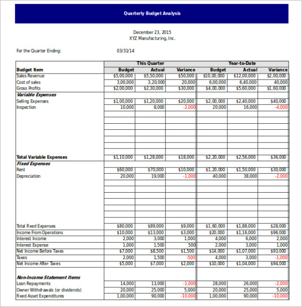 Quarterly Budget Analysis Template Excel Format