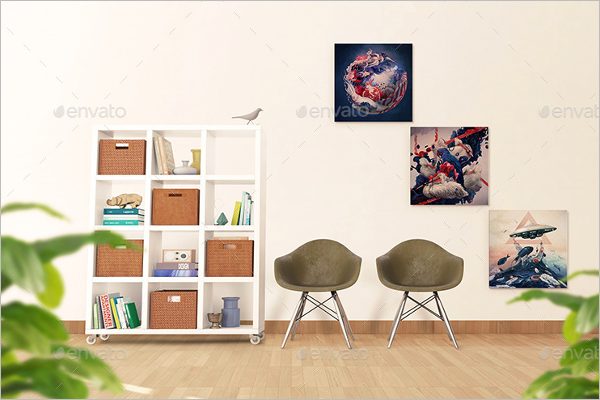Realistic Wall Mockup Template