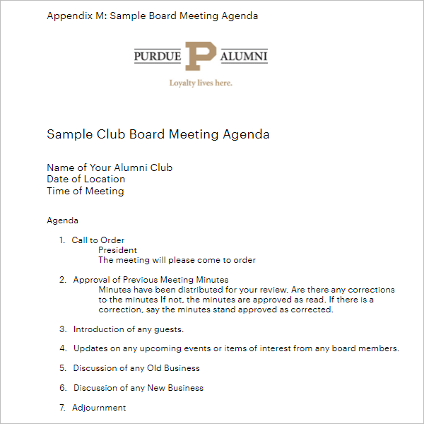Rotary Club Meeting Agenda Template