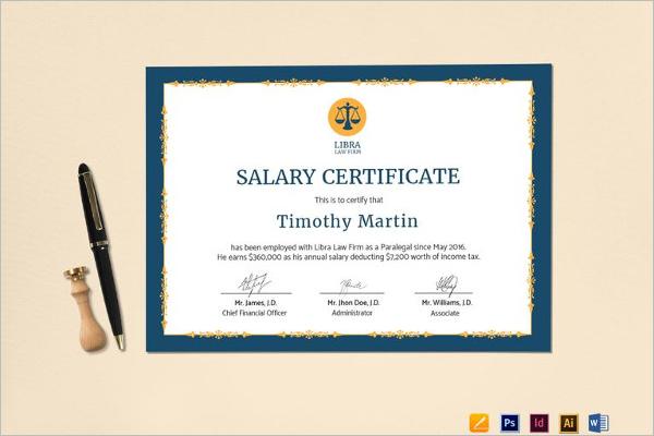 Salary Certificate PDF Format