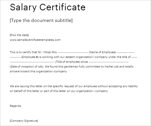 Salary Certificate Template Doc Download