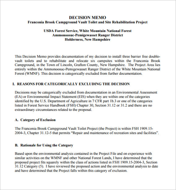 9+ Decision Memo Templates Free Word, Example Formats
