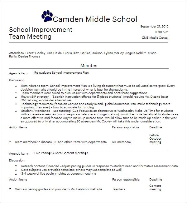 School Improvement Informal Team Meeting Agenda