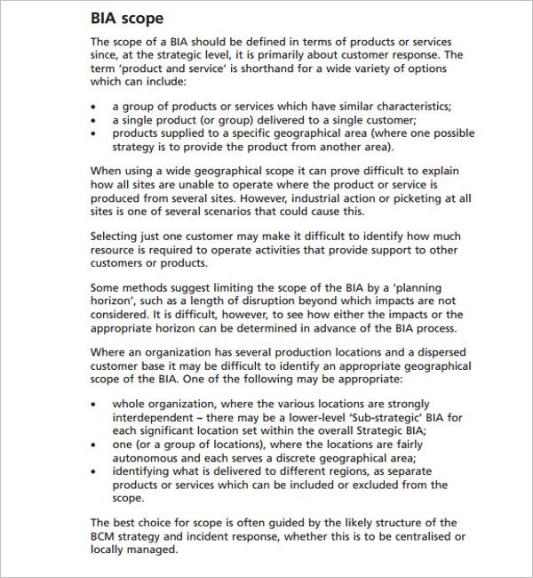 Scope Of BIA Document