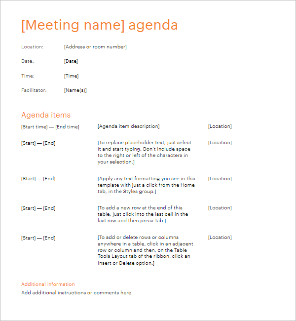 Simple Meeting Agenda Template Doc