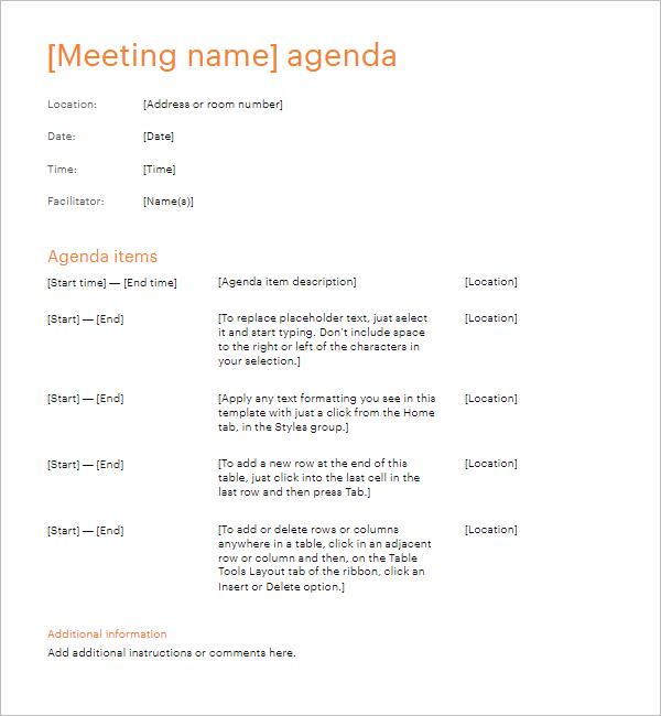 Simple Meeting Agenda Template Doc
