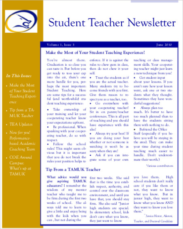Student Teacher Newsletter Template